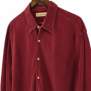 Tommy Bahama Maroon Corduroy Button Up Shirt XL